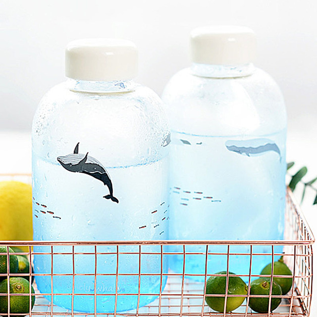 Lonely Whale Print Glass Water Bottle 5