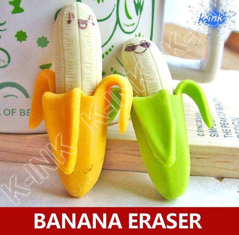 48pcs/lot Cute Kawaii Banana Eraser , Cartoon Fruit Banana Rubber Eraser For Kids , Vivid Banana , Do Not Eat !
