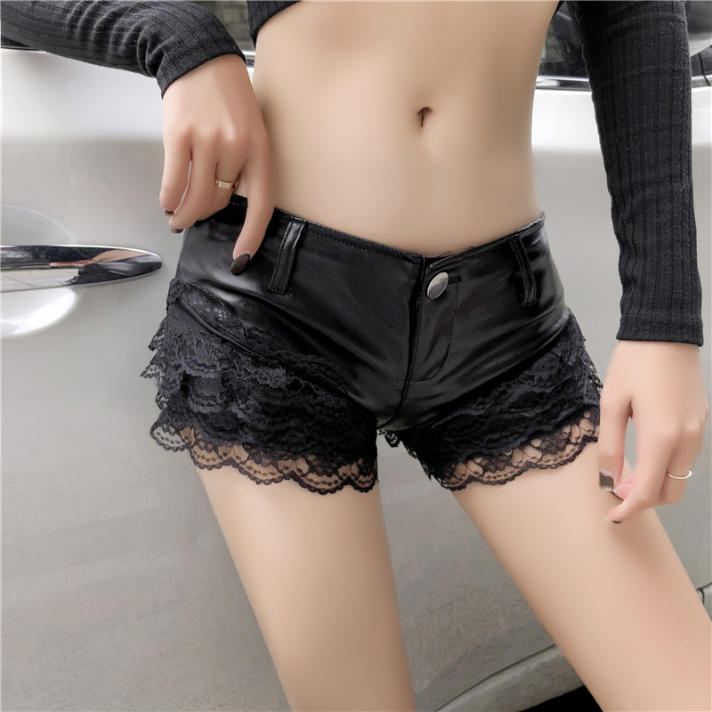 Autumn Winter Night Club Micro Mini Sexy Shorts Women Low-Waist Ruffle Lace Patchwork Pu Leather Shorts Hot Booty Shorts