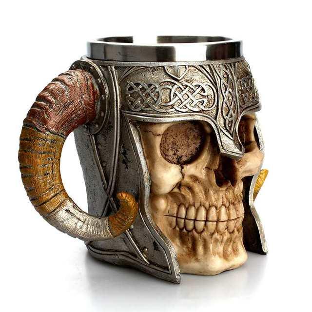 Viking Ram Horned Pit Lord Warrior Stainless Steel Skull Mug Beer Goat Horn Resin Tankard Coffee Mugs Halloween Bar Gift Tea Cup 1
