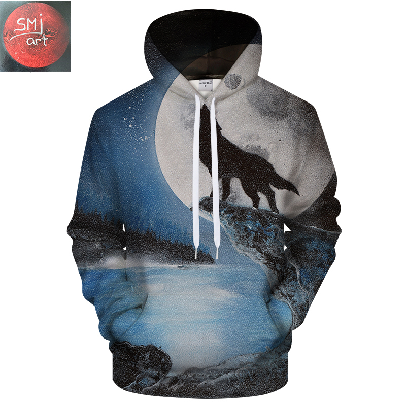 Wolf and the full moon by SMJ Artist 3D Hoodies Men Women Sweatshirts Wolf Pritned Hoodie Unisex Tracksuits Pullover ZOOTOP BEAR