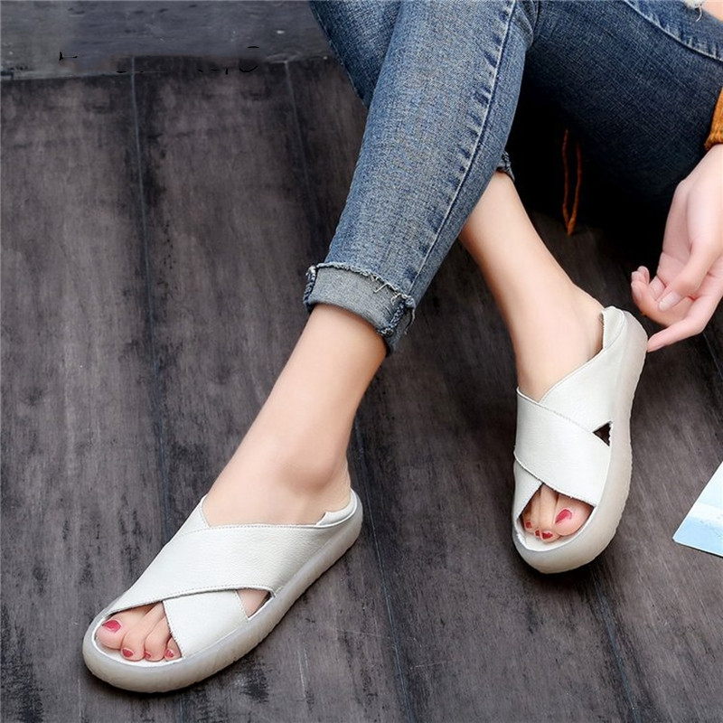 SWONCO Shoes Women Sandals Leather Flats 2019 Summer Shoes Casual Female Slip On Sandals For Woman Slipper Retro Sandal Shoes 41SWONCO Shoes Women Sandals Leather Flats 2019 Summer Shoes Casual Female Slip On Sandals For Woman Slipper Retro Sandal Shoes 41