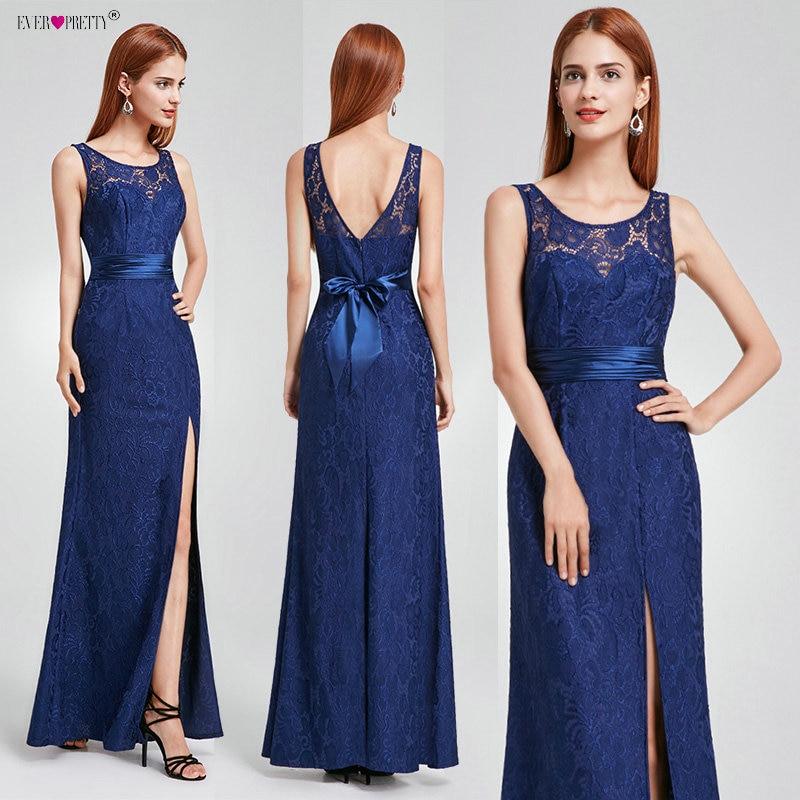 Ever Pretty Elegant Lace Long Evening Dresses 2019 Sleeveless Bow Sash Vestido Longo Formal Party Prom Gowns Vestido De Festa