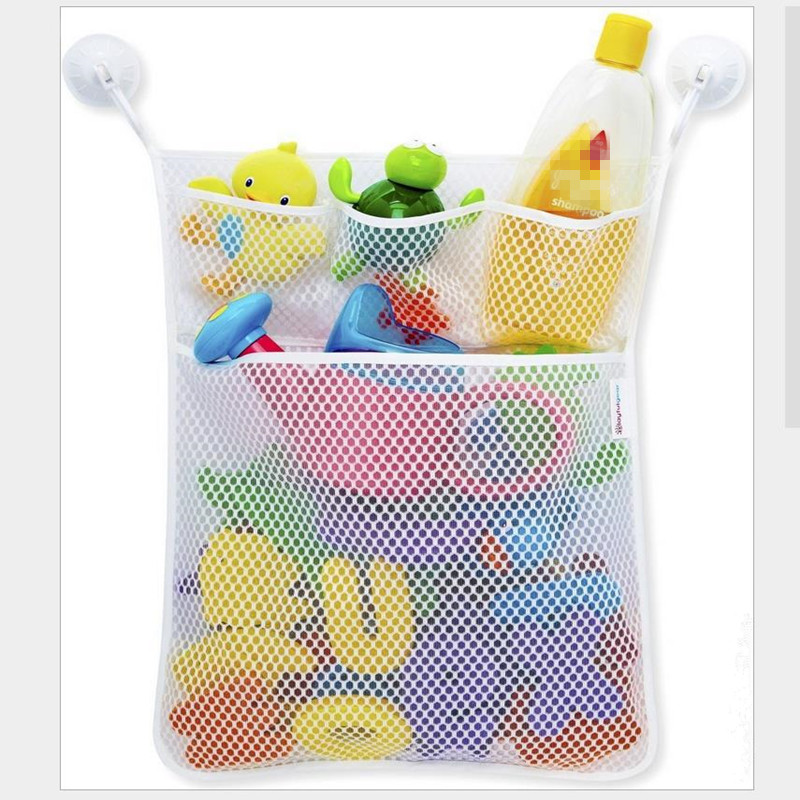 Urijk 1PC Bathroom Mesh Net Storage Holder Bag with Hooks Baby Bath Bathtub Toy Storage Clothe Hanging Organizer Racks For Home