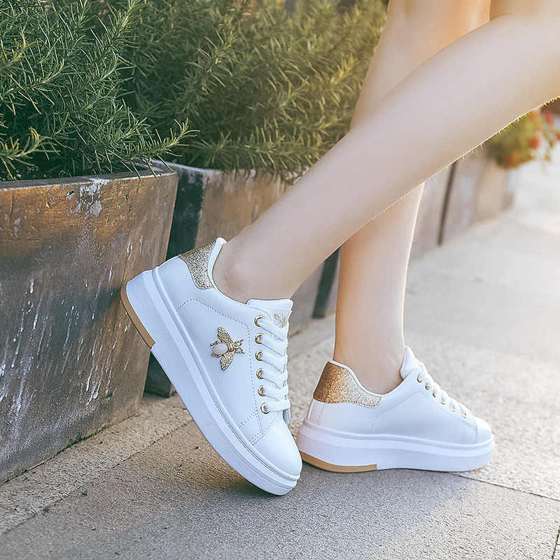 LFFZ White Shoes Women Sneakers Platform zapatos de mujer Fashion Rhinestone chaussures femme bee Lady footware Patchwork ST351