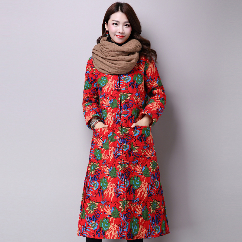 Women New Fashion Cotton Linen Fabric Coats Original Floral Print Long Sleeve Single Breasted Warm All