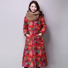 Женщины Новая Мода Хлопок Льняной Ткани Пальто Оригинальный Цветочный Принт С Длинным Рукавом Однобортный Теплый Все Матч Свободные Пальто