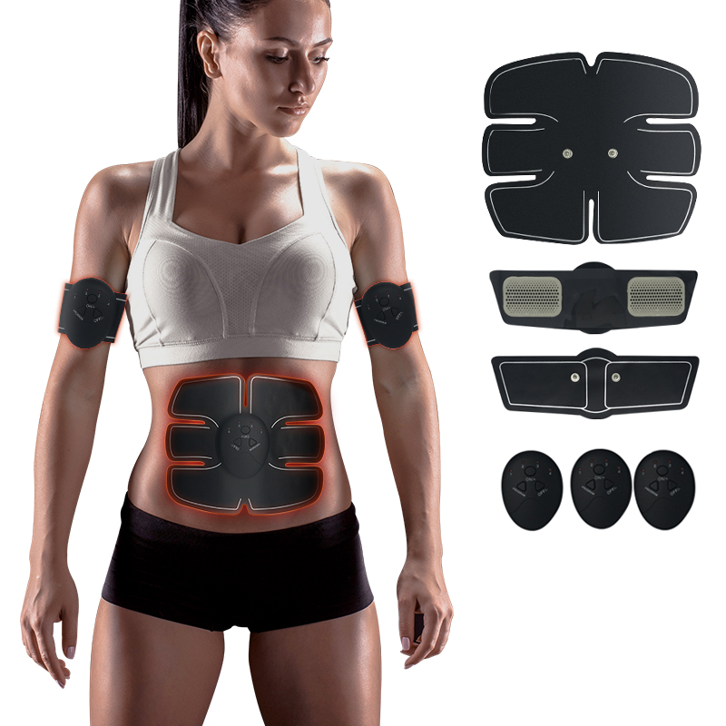 EMS trainer Muscle Stimulator Trainer Smart Fitness Abdominal Training ABS Stimulator Body Slimming Belt Unisex Stickers(China)