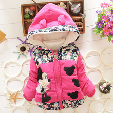 Hot 2016 New Children'S Winter Outerwear Girls Cartoon Mickey Coat Baby Plus Thick Wool Cotton Fake Fur Padded Jacket