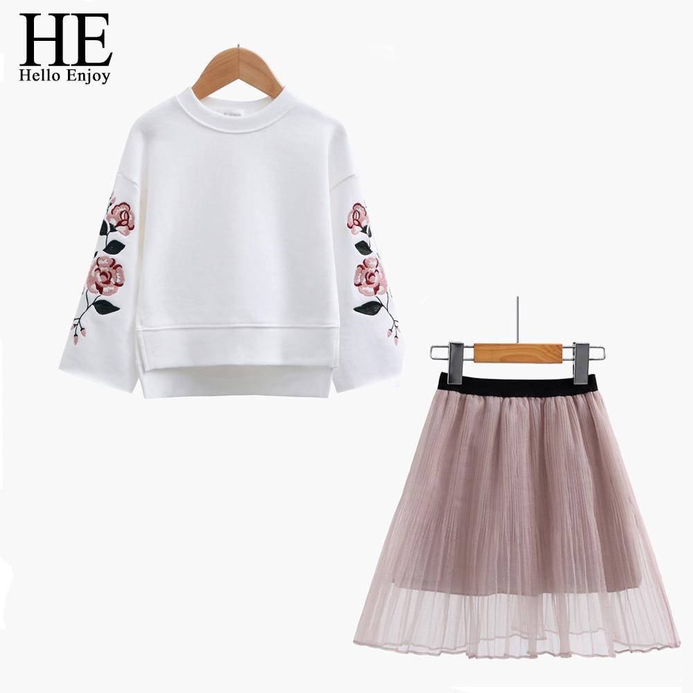 HE Hello Enjoy Girl Clothes Set Spring Autumn Kids Clothing Flower Long Sleeve Print Sweater + Mesh Skirt 2pcs Girl Clothes Set