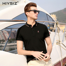 HIYSIZ New Hot Men T-Shirts 2019 Tops Soft Streetwear Solid Casual T Shirt Turn-down Collar TShirts For Summer ST016