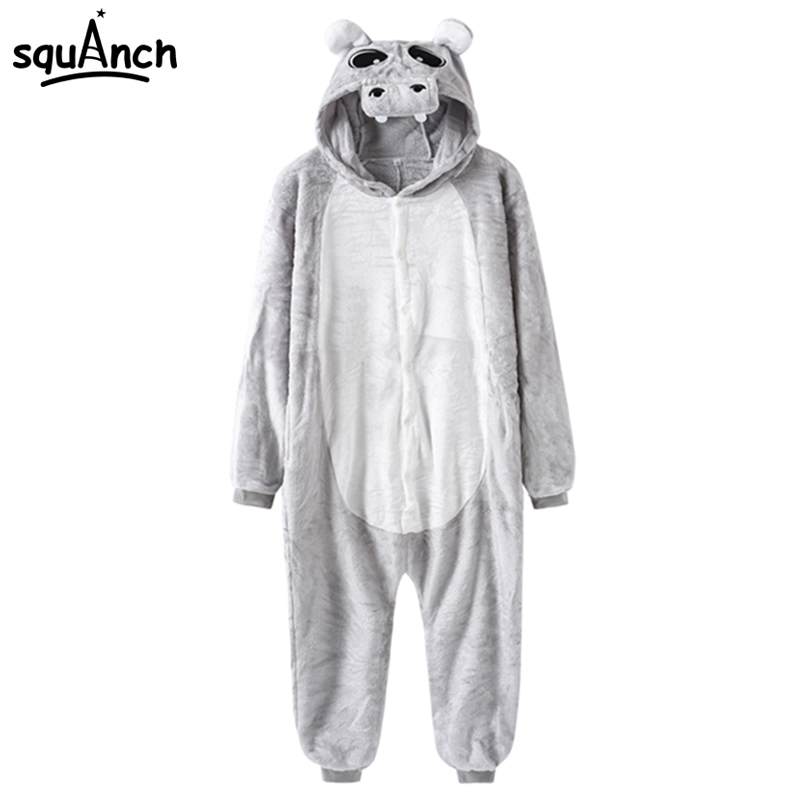 Animal Hippo Cosplay Costume Gray Onesie Cartoon Pajama Adult Men Women Carnival Party Show Suit Winter Thick Warm Game Onepiece