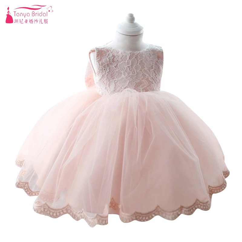 Ball Gown   Flower     Girl     Dress     Girls   Fashion Pink Lace Big Bow Party Tulle Princess Baby   Girl     dress   Real Photos DQG488