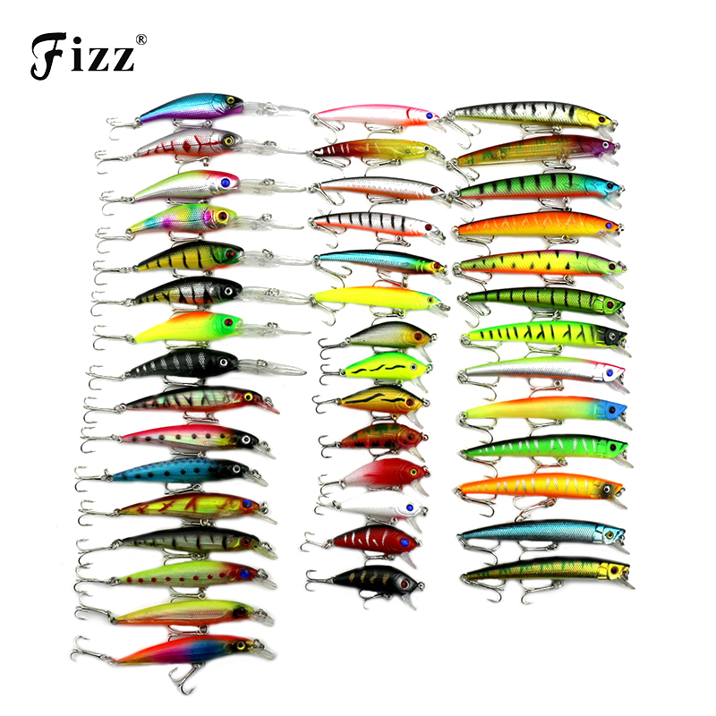 43 Pcs/Pack 6 Model Minnow Fishing Lure 3D Fish Eye Minnow Hard Plastic Fishing Wobbler Artificial Bait Fishing Tackle Low Price 1pc laser 2 sections minnow fishing lure 105mm 9 6g pesca hooks fish wobbler tackle crankbait artificial hard bait gear zb9051
