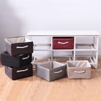 White Wooden Basket Storage Chest with 6 Drawer PVC Rattan Wicker Baskets Home Sundries Storage Organization HW59523