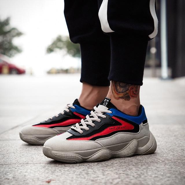 9d9b369fdf9ee 2018 respirable cómodo papá zapatos hombres moda verano malla aumentar  Walking zapatos masculinos