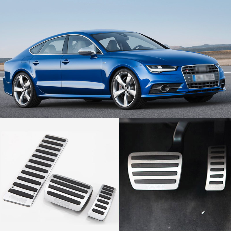 Brand New 3pcs Aluminium Non Slip Foot Rest Fuel Gas Brake Pedal Cover For Audi A7 2009-2016 AT brand new 3pcs aluminium non slip foot rest fuel gas brake pedal cover for nissan teana at 2008 2016