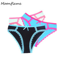 Moonflme 3 pcs/lots Hot Sale 6 Color Women Panties Cotton Sexy Lace 89147