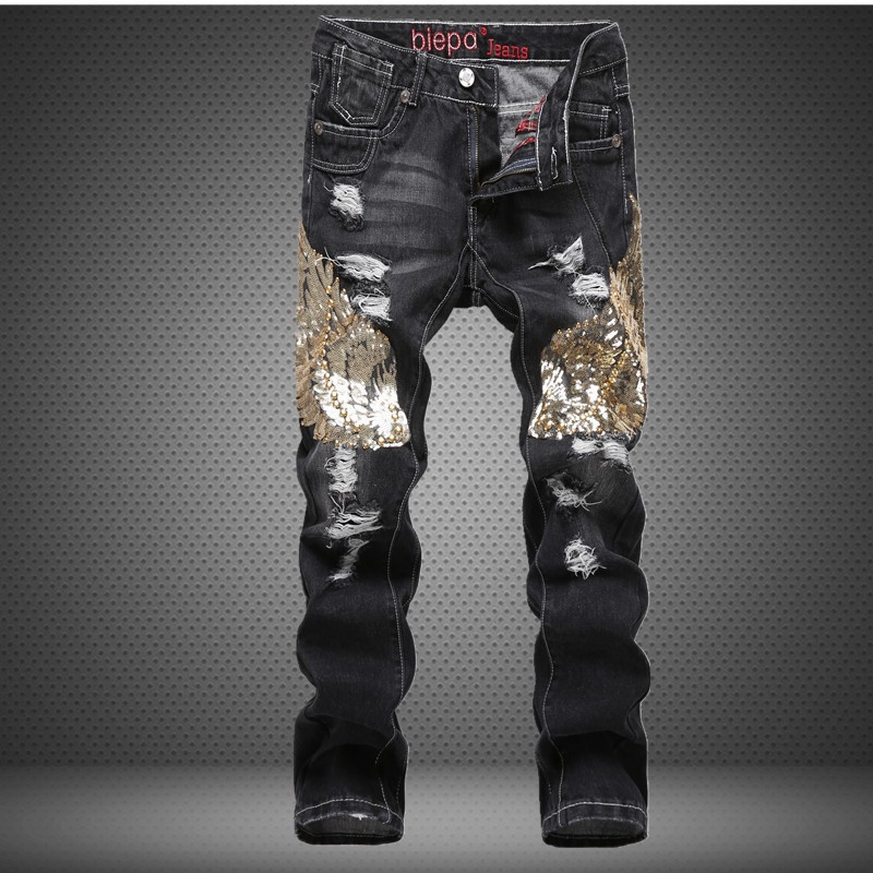 Fashion designer mens slim straight patch torn denim pants Eagle Wing Sequins patchwork black destoryed ripped jeans for men 2017 mens fashion hole jeans brand designer bird embroidery straight denim trousers male luxury slim cotton zipper ripped jeans