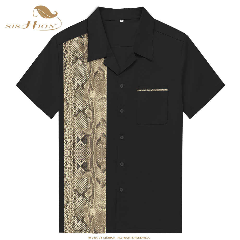 SISHION Stile Vintage Camicia Bowling ST110 2019 di Estate Manica Corta Retro Del Serpente Animale di Stampa Da Uomo In Cotone Camicia Casual