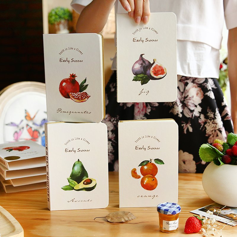 South Korea stationery summer fruit notebook small pure and fresh note book hand blank page diary 140 page note paper creative fruit design