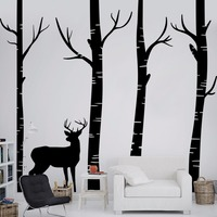 Forest Deer Wall Stickers Living Room Art Background Muurstickers Home Decor Large Size Self Adhesive Sticker