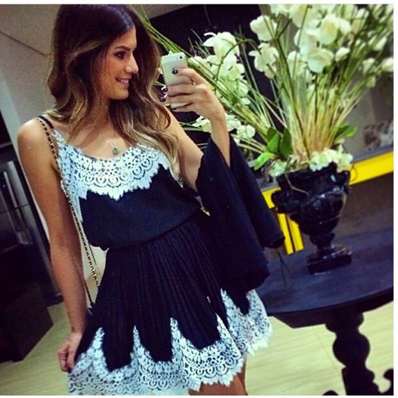 Fashion Women Sexy Lace Stitching Harness Dress Base Clothes Party Mini Dress Casual Dress Summer Spring Female Dress A20