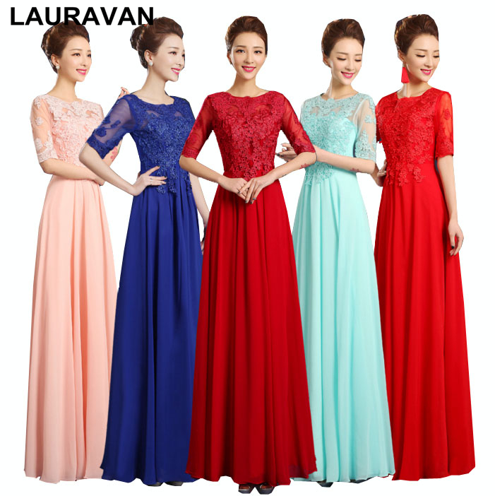 women special occasion formal ladies party   dresses   red blue pink chiffon bridesmaide   dress     bridesmaid   for a wedding