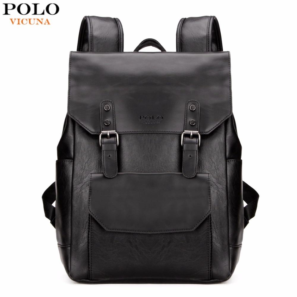 Vicuna Polo casual cuero negro hombres mochila portátil mochila doble correa marca promoción hombre viaje mochila hombres mochila casual
