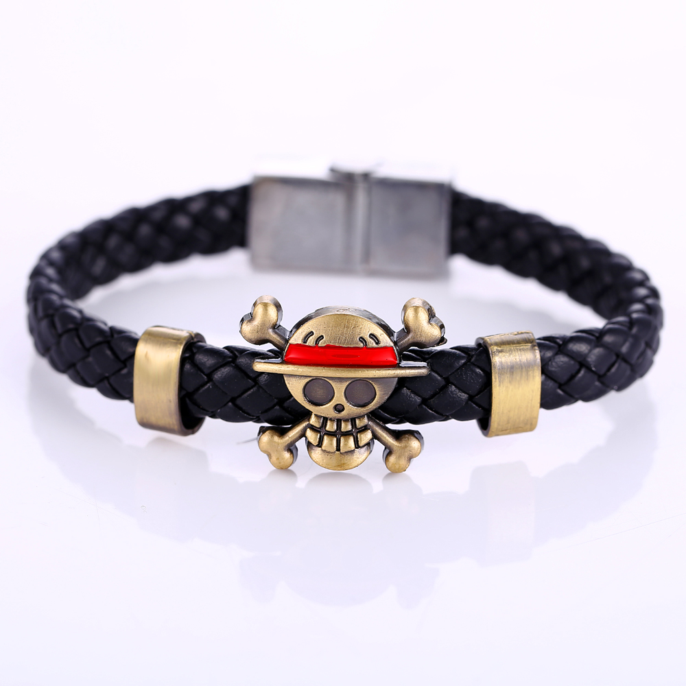 HSIC Anime One Piece Bracelets Luffy Leather Weave Bracelet&Bangles Men Jewelry Cosplay Accessories Gifts HC10176