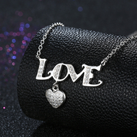 925 Sterling Silver Love Heart Natural Stone Pendant Necklace Clear CZ Women Pendants & Necklaces Jewelry