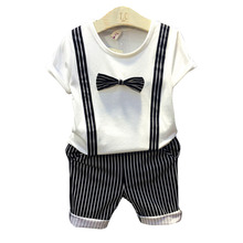 2016 NEW ARRIVAL boy clothing set young gentle man suit white t-shirt with tie+pants suit handsome set