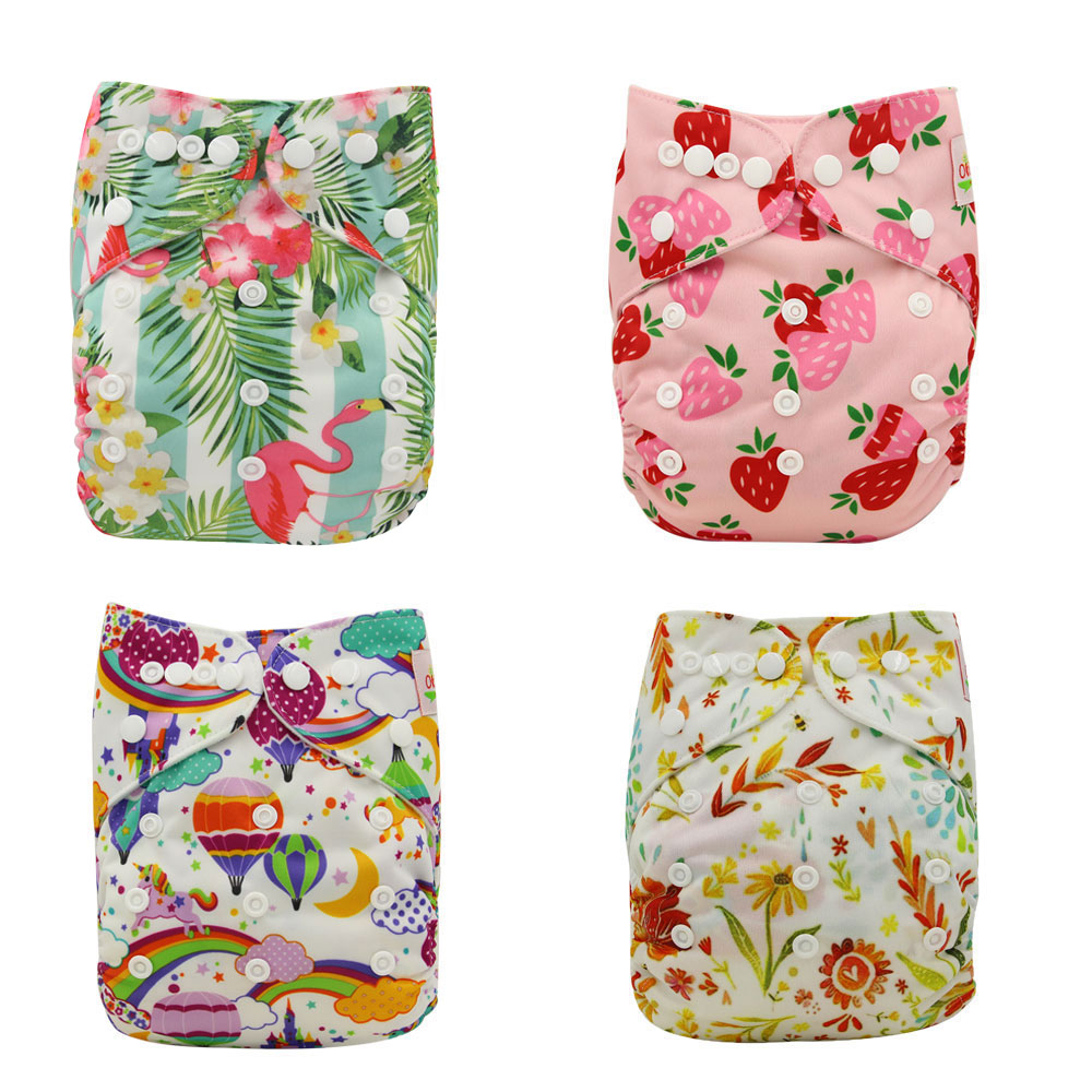 Reusable Cloth Pocket Diaper Cartoon Print Brand Kids Adjustable Nappies Baby Nappies Washable Pocket Diaper