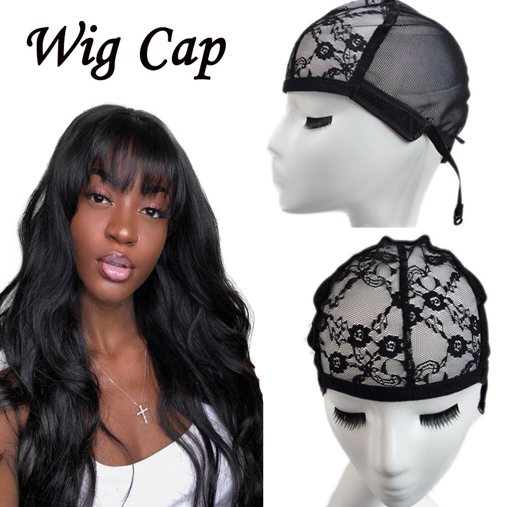 Elastic Wig Cap With Lace Hair Net Wig Accessories Weave Mesh Wig Cap Crochet Wig Free Size Adjustable Wig Makeup Balck Color in Hairnets from Hair Extensions Wigs