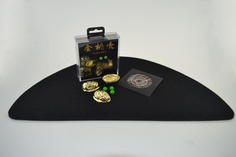 Gloden métal Shell (avec trois pois) tours de magie gros plan magie disparition/apparence Routine rue Gimmick accessoires magiques apprendre - 2