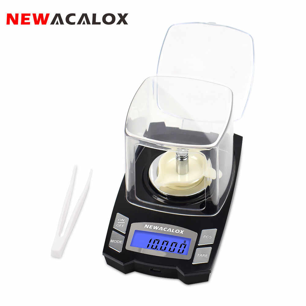 NEWACALOX 50G/100G X 0.001G USB Sạc Trang Sức Quy Mô LCD Túi Kỹ Thuật Số Chính Xác Cân Điện Tử Dược Liệu phòng Cân Bằng Cân Nặng