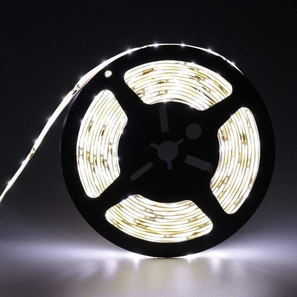 Tira de luces LED Flexible IP65 12V de resistencia al agua, tira de luces LED blanca 3528, tira de luces LED delgada Compacta y flexible Bola de discoteca giratoria activada por sonido, luces de fiesta, luz estroboscópica, luces de escenario led RGB de 3W para Navidad, hogar, KTV, espectáculo de Bodas de Navidad