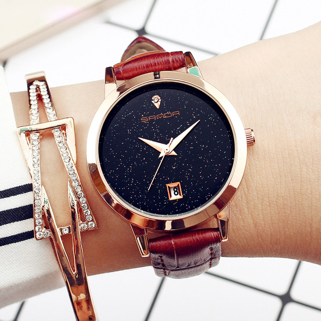 2018SANDA Fashion Star Dial Luxury Fashion Leather Band Analog Quartz Round Wris