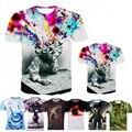 Hombre de las camisetas 3d prited camisa de los hombres de moda casual de manga corta cuello de o cerebro agujero brand clothing
