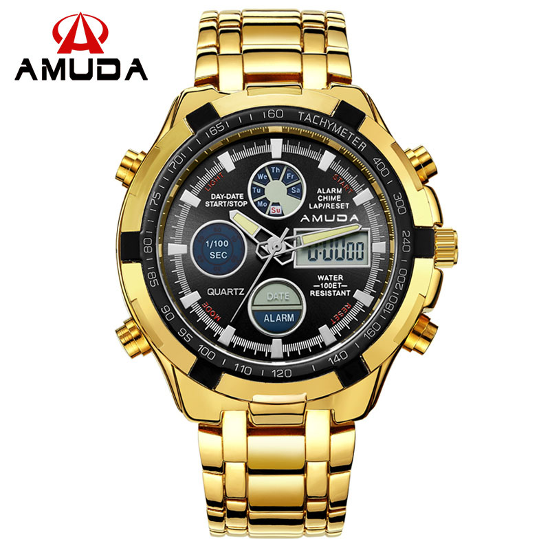 AMUDA Male Gold Watch Digital Watch Full Steel LED Men Sports Watches Day Date Calendar Multiple Time Zone Relogio Masculino brand amuda fashion digital watch men led full steel gold mens sports quartz watch military army male watches relogio masculino