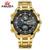 Moda Reloj de Acero Completo LED de Los Hombres Relojes Deportivos Digitales Día Fecha Calendario Hombres Zona Horaria Múltiple Reloj de Oro Masculino Del Relogio