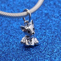 925 Sterling Silver Beads fit Original Pandora Bracelet Bulldog Puppy Dangle Charm for Women Silver Beads for Jewelry Making