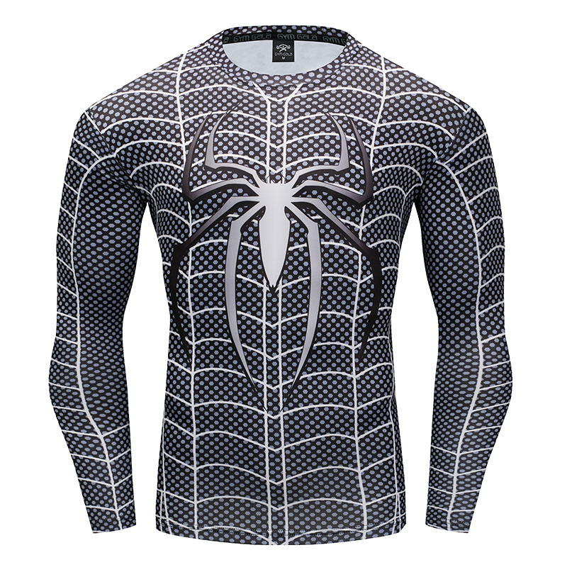 Spider-man VS Superman 3D Printed T-shirts Men Long Sleeve Cosplay Costume Fitness Clothing Male Tops Halloween Costumes For Men