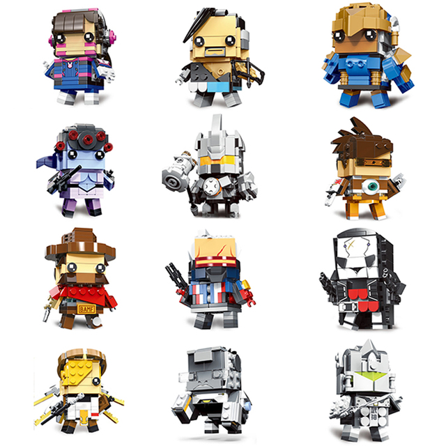 2019 legoes New arrive Overwatching 76 Genji Widowmaker D.Va Square head Brickheadz building Blocks for children gifts