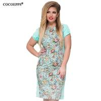 COCOEPPS 2017 Women Large Size Mini Dress Plus Size Ladies O Neck Short Sleeve Summer Printing