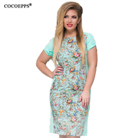 COCOEPPS 2017 Women Large Size Mini Dress Plus Size Ladies O Neck Short Sleeve Summer Printing
