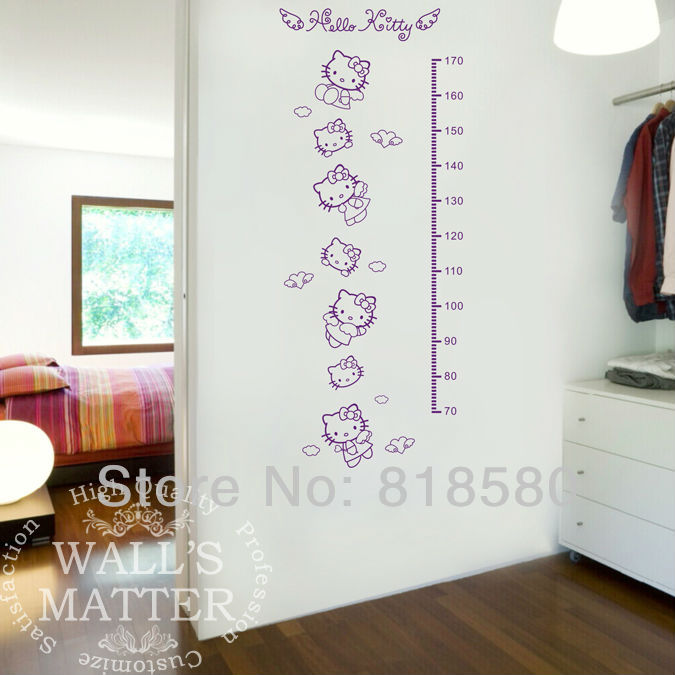 Free Shipping Home Decor Large Lovely Hello Kitty Growth Chart Vinyl Wall  Art Stickers Removable Wall ... Part 50