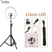 Tycipy 12 Anel Luz Fotografia LED Foto Luz de Vídeo Da Câmera Selfie Luz Suave com 1.1m Tripé Clipe Telefone para Make Up Ao Vivo