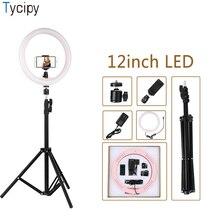 Tycipy 12 anneau lumière LED photographie Selfie lumière caméra vidéo lumière douce avec 1.1m trépied téléphone Clip pour maquillage en direct