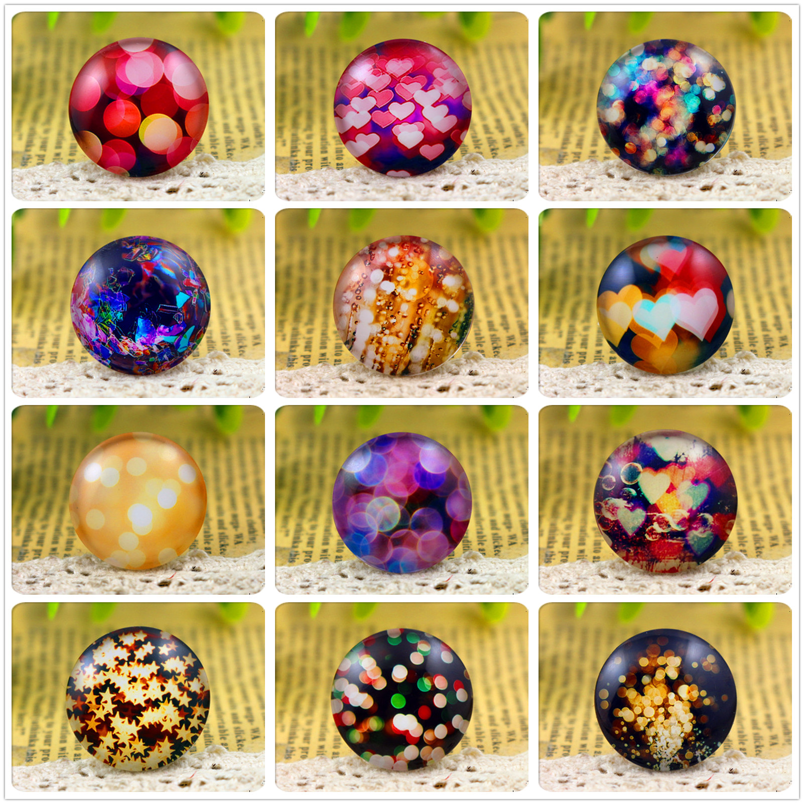 Hot Sale 5pcs/Lot 25mm Handmade Photo Glass Cabochons  (Night Light Series)